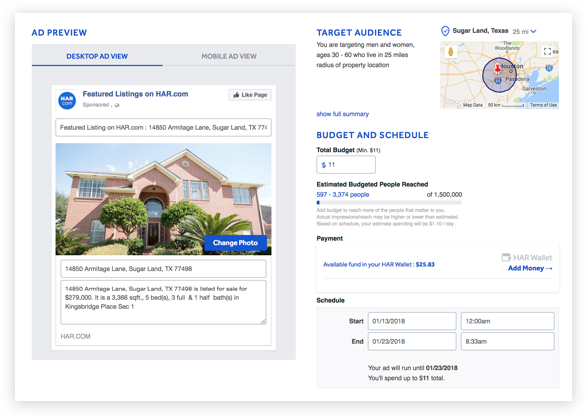 HAR Facebook ADs - a fast way to promote your listings on Facebook Ads