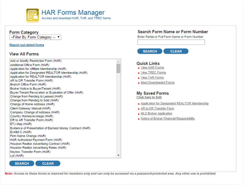 Har Forms Manager Har Members Har